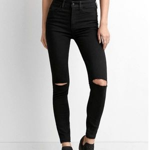 American Eagle High Waisted Ripped Black Jeans